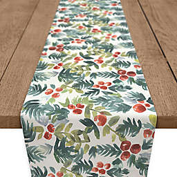 Watercolor Holly Table Runner in Green