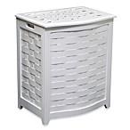 Oceanstar Bowed Front Veneer Wood Laundry Hampers - White