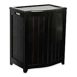 Oceanstar Bowed Front Wood Laundry Hamper in Dark Mahogany
