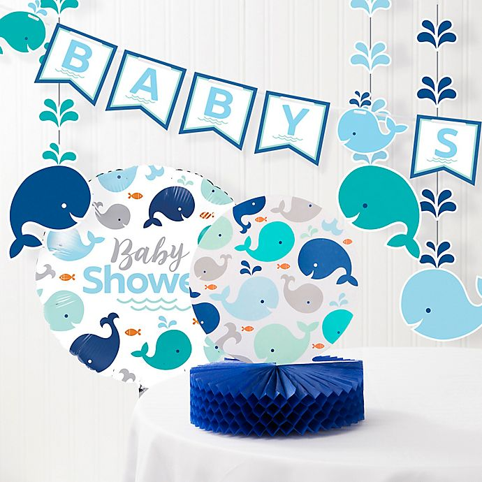 Alternate image 1 for Creative Converting™ Blue Baby Whale Baby Shower Decorations Kit