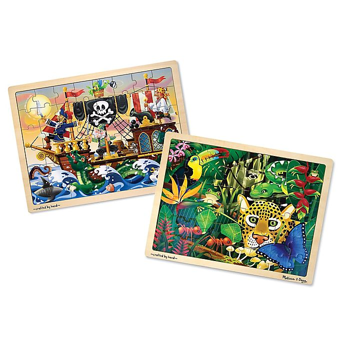 Alternate image 1 for Melissa & Doug® Rain Forest & Sea Wooden Jigsaw Puzzles (Set of 2)
