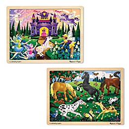 Melissa & Doug® 48-Piece Horse and Fairies Wooden Jigsaw Puzzles (Set of 2)