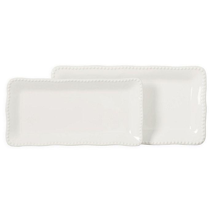 Alternate image 1 for Modern Farmhouse  Organic Bead 2-Piece Rectangular Platter Set in White