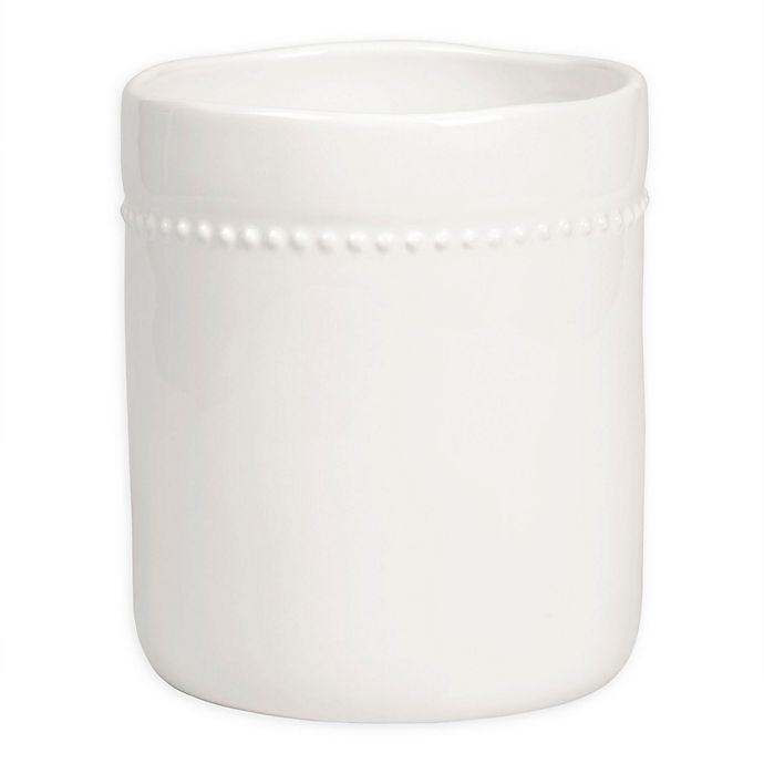 Alternate image 1 for Modern Farmhouse  Organic Bead Utensil Crock in White