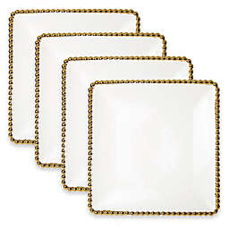 Classic Touch Gold Bead Square Dinner Plates (Set of 4)