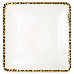 Classic Touch Gold Bead Square Dessert Plates (Set of 4)