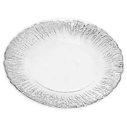 Classic Touch Trophy Dinner Plates with Flashy Silver Design (Set of 2)