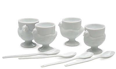 RSVP Porcelain Egg Cups Serving Set with Spoons