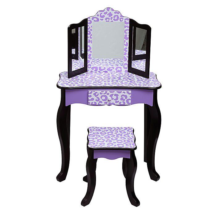 Alternate image 1 for Teamson Kids Leopard Print Vanity Set in Purple
