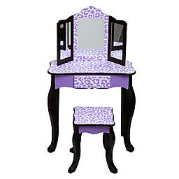 Teamson Kids Leopard Print Vanity Set in Purple