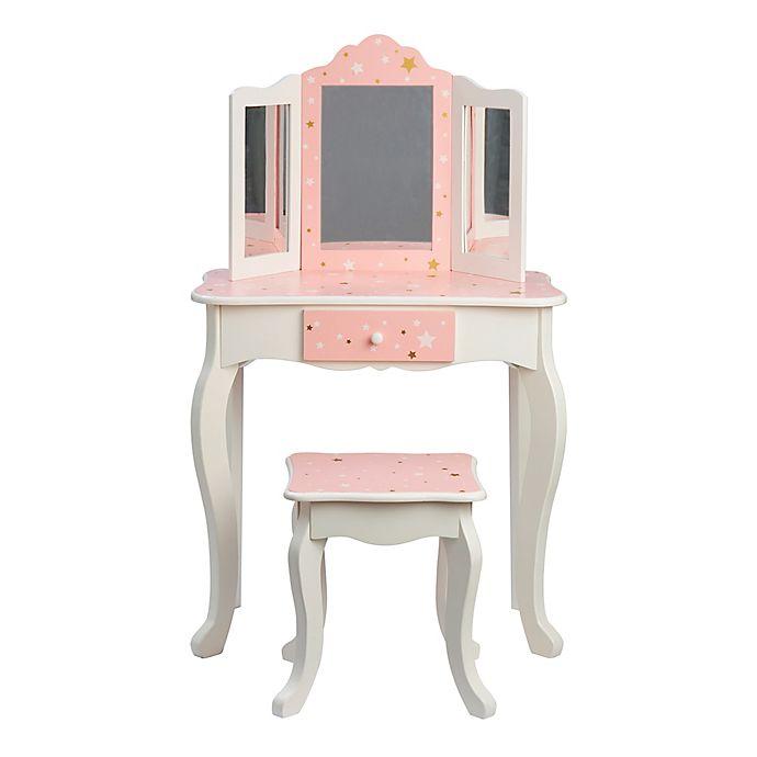 Teamson Kids Fashion Prints Star 2 Piece Vanity Set In Pink White
