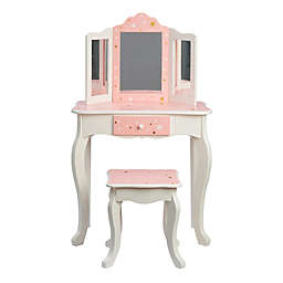 Teamson Kids Fashion Prints Star 2-Piece Vanity Set in Pink/White