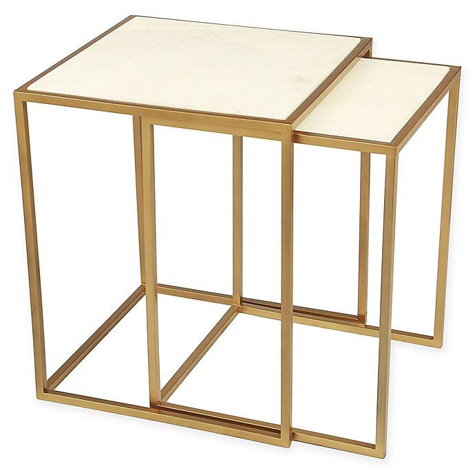 Alternate image 1 for Zuo® Kensington Stone & Brass Nesting Tables (Set of 2)