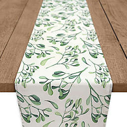 Watercolor Mistletoe Table Runner in Green