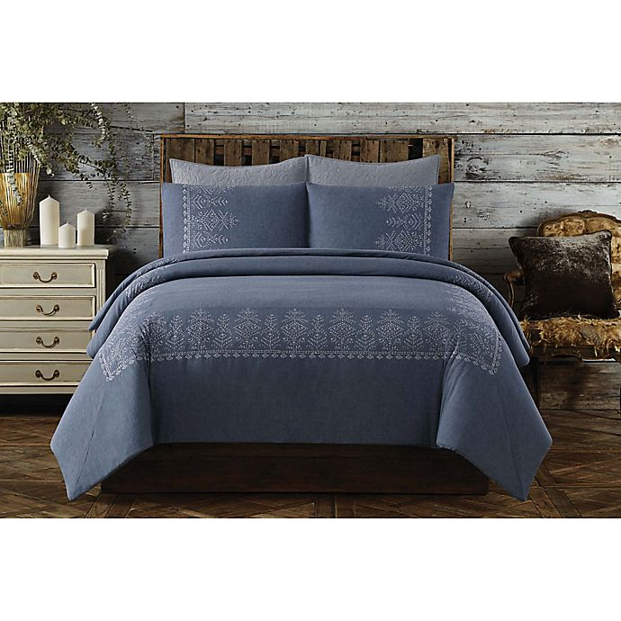 Alternate image 1 for Chambray Full/Queen Duvet Cover Set in Blue