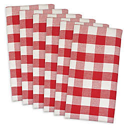 Design Imports Buffalo Check Napkins in Red/White (Set of 6)