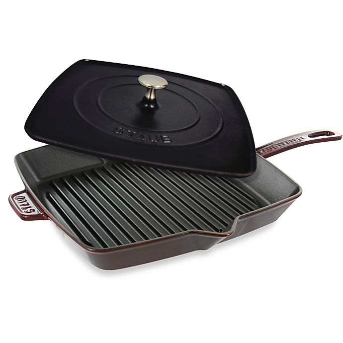 Alternate image 1 for Staub 12-Inch Grill Pan and Press Combo in Dark Red