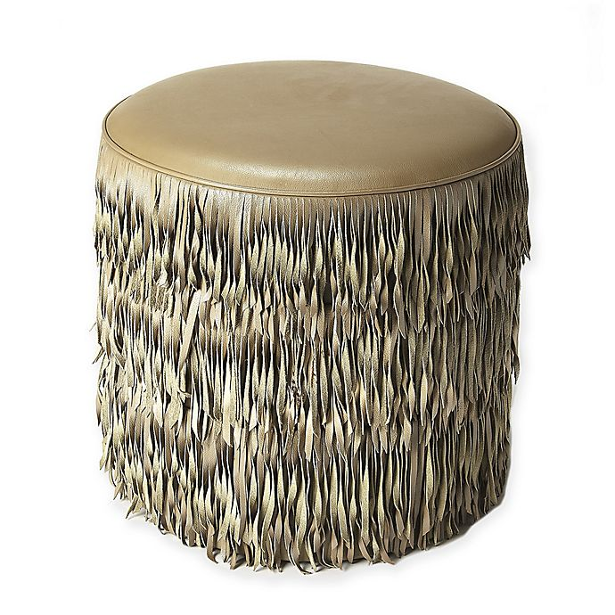 Astounding Butler Specialty Company Leather Fringe Ottoman In Grey Machost Co Dining Chair Design Ideas Machostcouk