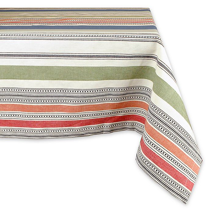 Alternate image 1 for Design Imports Warm Stripe 60-Inch x 84-Inch Oblong Tablecloth