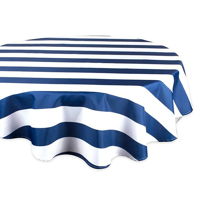 Alternate image 1 for Design Imports Cabana Strip 60-Inch Round Tablecloth in Nautical Blue