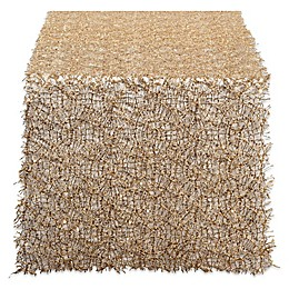 Design Imports Sequin Mesh 120-Inch Table Runner in Gold