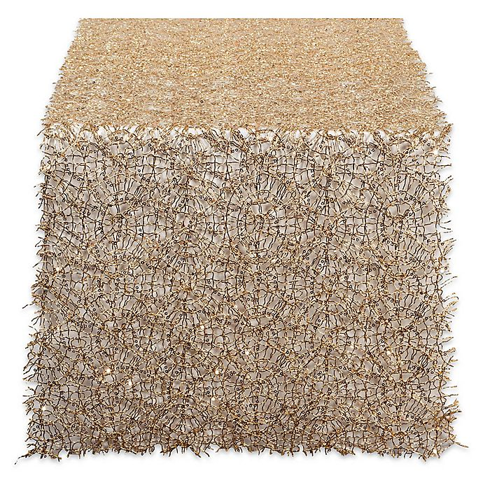 Alternate image 1 for Design Imports Sequin Mesh 120-Inch Table Runner in Gold