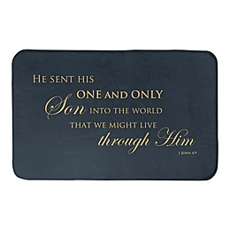 "Designs Direct ""That We Might Live Through Him"" 21"" x 34"" Bath Mat in Blue"