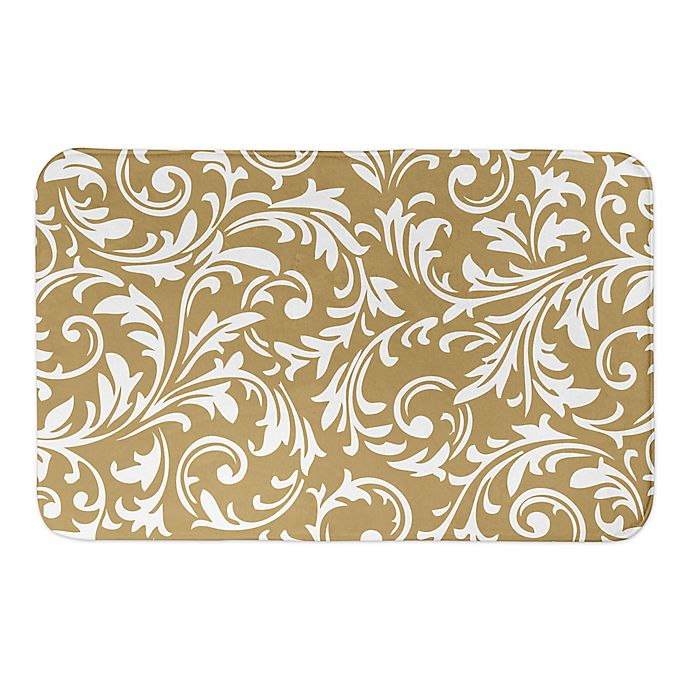 Alternate image 1 for Designs Direct Baroque 21-Inch x 34-Inch Bath Mat in Gold