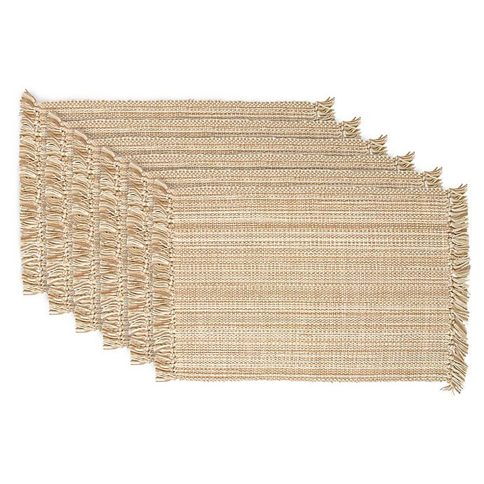 Alternate image 1 for Design Imports Variegated Fringe Placemats in Taupe (Set of 6)