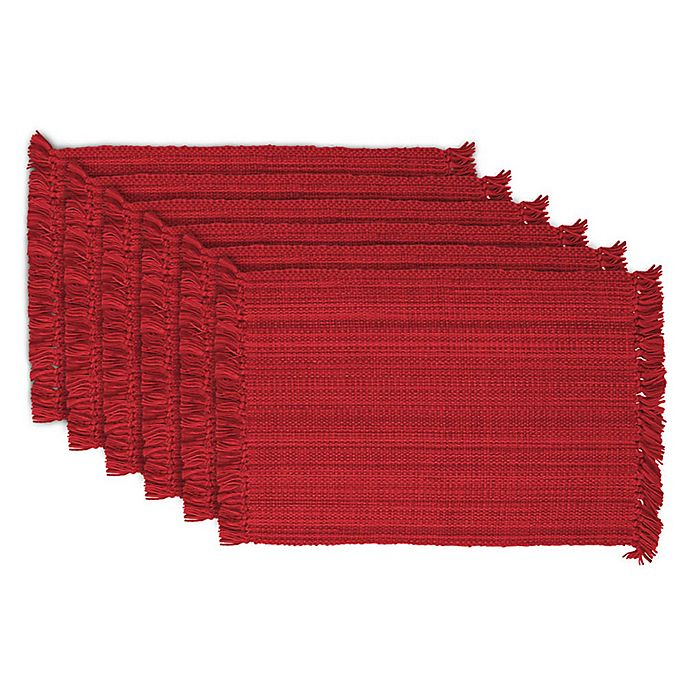 Alternate image 1 for Design Imports Variegated Fringe Placemats in Red (Set of 6)