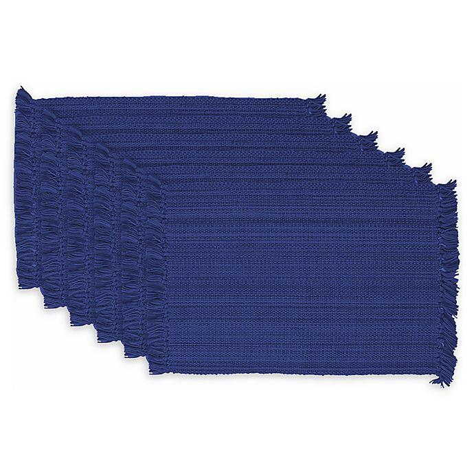 Alternate image 1 for Design Imports Variegated Fringe Placemats in Nautical Blue (Set of 6)