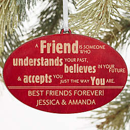 Forever Friend Personalized Christmas Wood Ornament