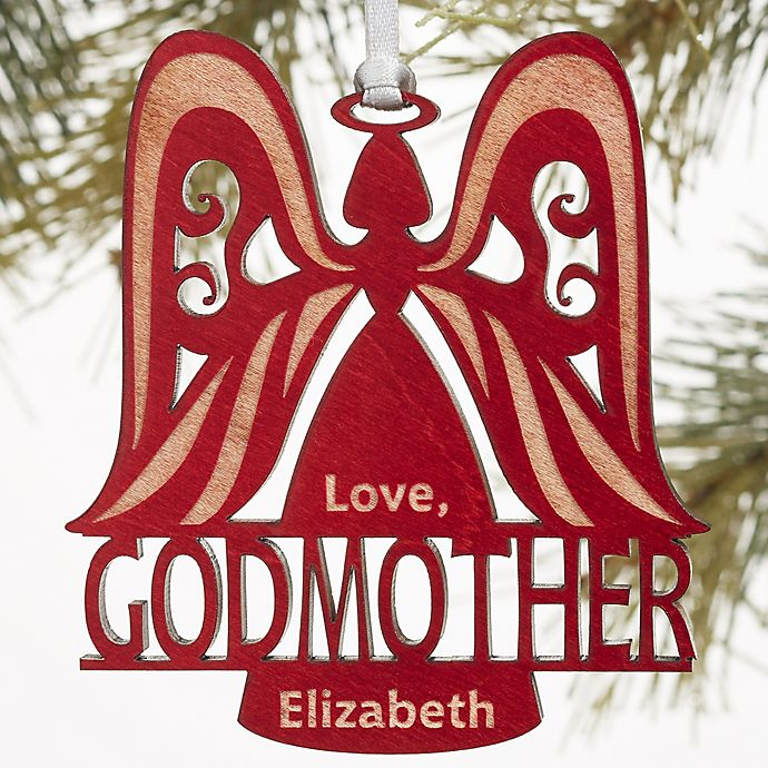 Godparent Wood Angel Personalized Christmas Wood Ornament
