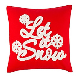 """Safavieh """"Let it Snow"""" Square Throw Pillow in Red/White"""