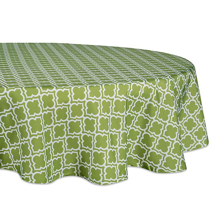 Alternate image 1 for Design Imports Lattice 60-Inch Round Tablecloth in Green