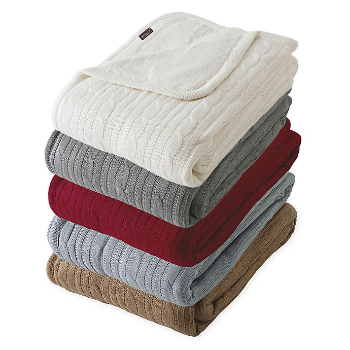 Alternate image 1 for Brielle Cable Knit Reversible Throw Blanket with Faux Sherpa Lining