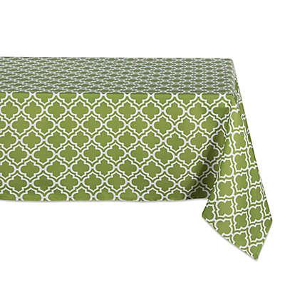 Design Imports Lattice Indoor/Outdoor Tablecloth in Green