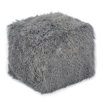 Tov Furniture Fur Upholstered Tov Tibetan Moody Chair in Grey