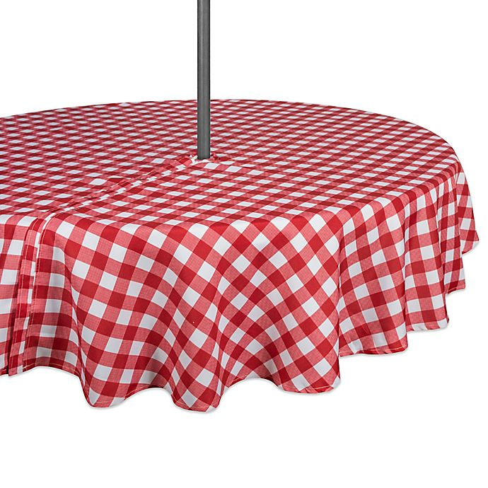 Alternate image 1 for Design Imports Buffalo Check 60-Inch Round Tablecloth with Umbrella Hole in Red