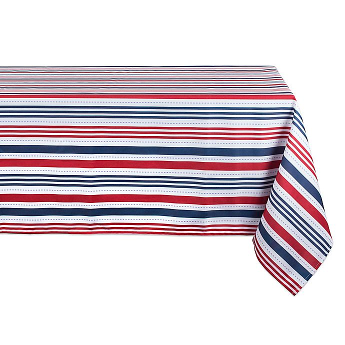 Alternate image 1 for Design Imports Patriotic Stripe 60-Inch x 84-Inch Oblong Tablecloth