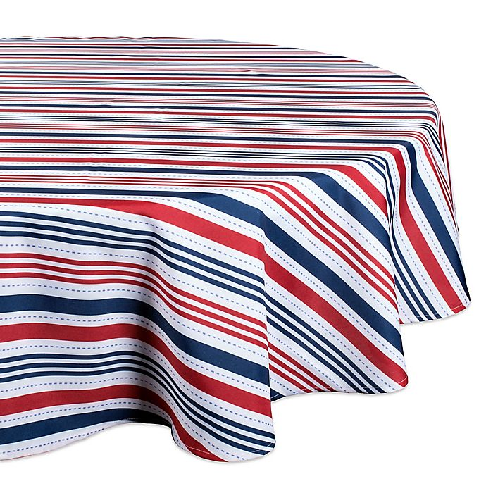 Alternate image 1 for Design Imports Patriotic Stripe 60-Inch Round Tablecloth