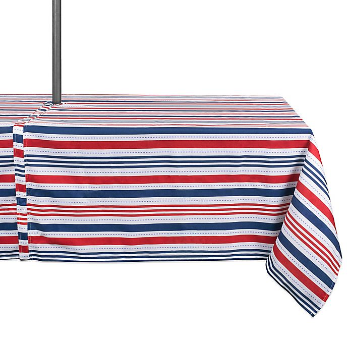 Alternate image 1 for Design Imports Patriotic Stripe 60-Inch x 120-Inch Oblong Zippered Tablecloth with Umbrella Hole