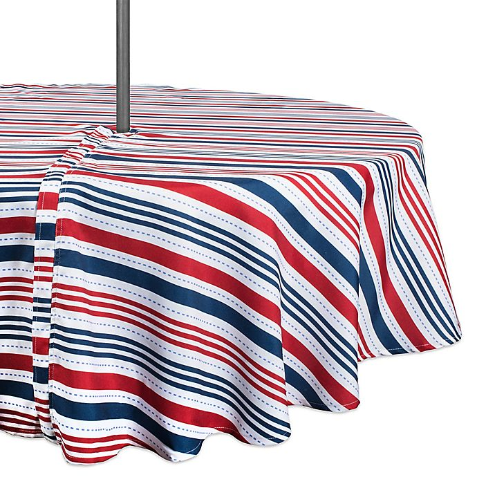 Alternate image 1 for Design Imports Patriotic Stripe 52-Inch Round Zippered Tablecloth