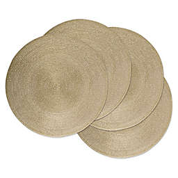 Design Imports Woven Metallic Round Placemats (Set of 4)