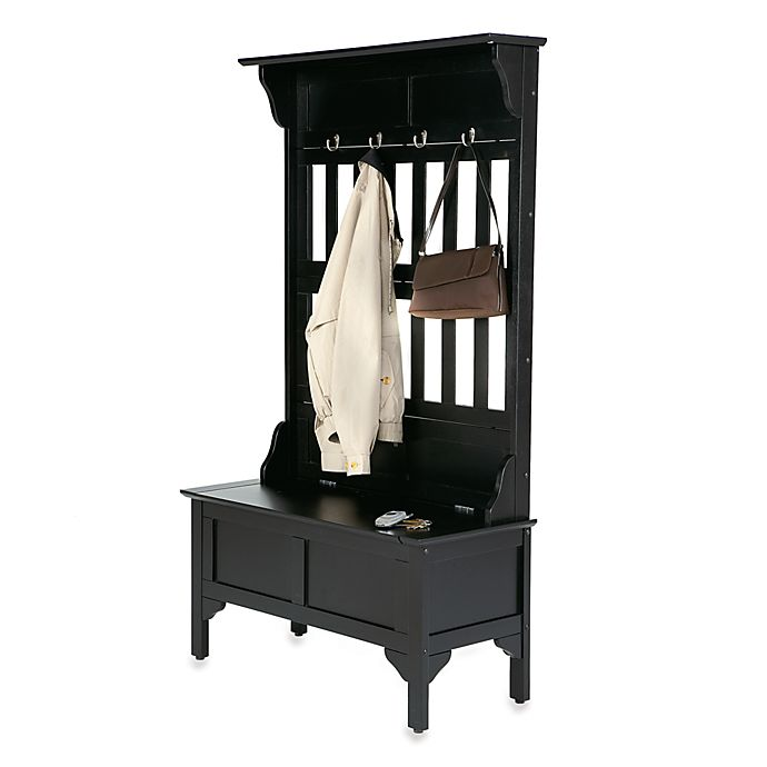 Alternate image 1 for Home Styles Hall Tree and Storage Bench in Black Finish