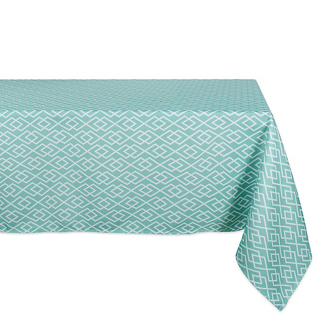Alternate image 1 for Design Imports Diamond 60-Inch x 120-Inch Oblong Tablecloth in Aqua