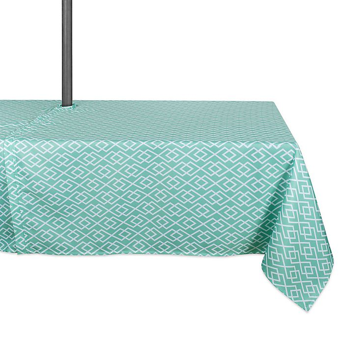 Alternate image 1 for Design Imports Diamond 60-Inch x 120-Inch Oblong Tablecloth with Umbrella Hole in Aqua
