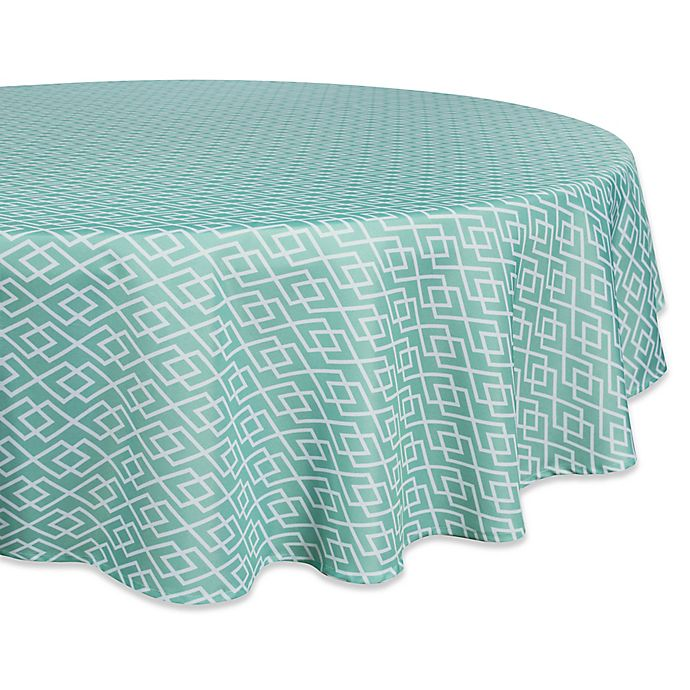 Alternate image 1 for Design Imports Diamond 60-Inch Round Tablecloth in Aqua