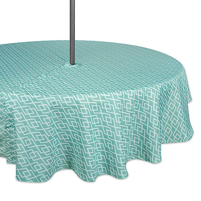 Alternate image 1 for Design Imports Diamond 60-Inch Round Tablecloth with Umbrella Hole in Aqua