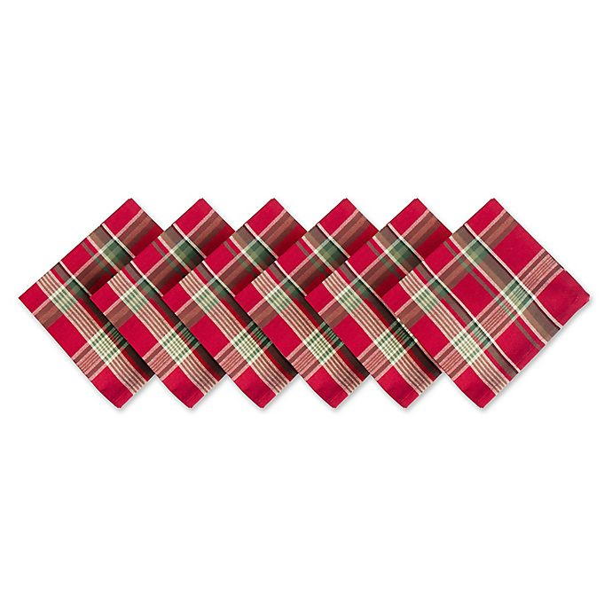 Alternate image 1 for Design Imports Plaid Napkins in Tango Red (Set of 6)